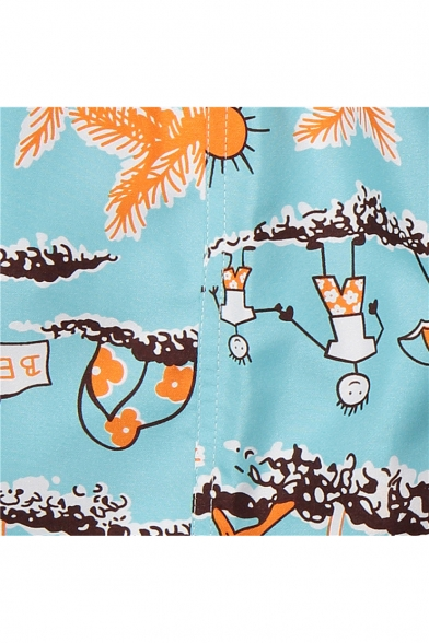 Lovely Cartoon Plants Print Guys Blue Drawstring Waist Quick-Dry Beach Swim Shorts