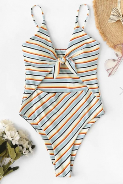 New Stylish Striped Printed Knotted V-Neck Cut Out Front One Piece Swimsuit