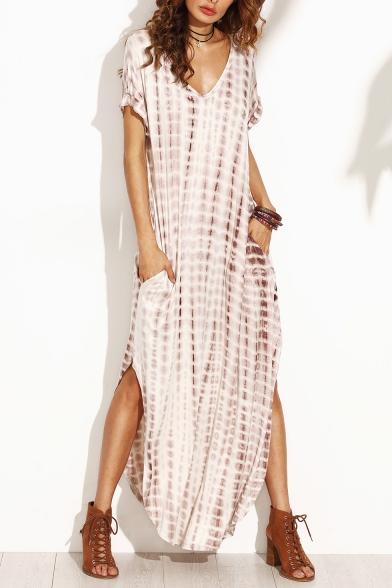 New Trendy Tie Dye Printed Short Sleeve V-Neck Sexy Split Side Maxi Kaftan Holiday Beach Dress