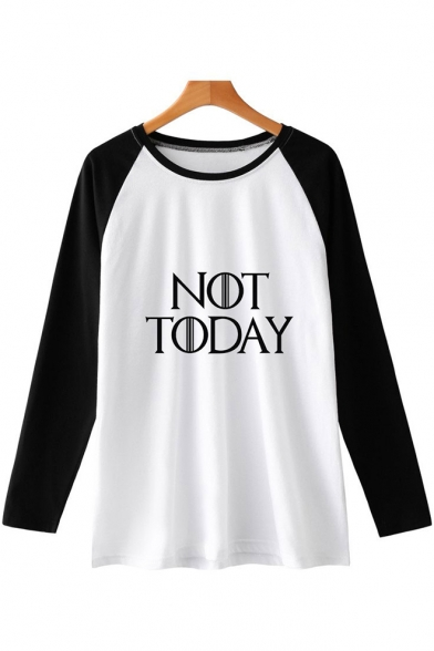 Popular Simple Letter NOT TODAY Round Neck Colorblock Long Sleeve Unisex Loose T-Shirt