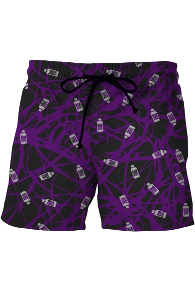 Purple Fashion Creative Bottle Printed Drawstring Waist Beach Swim Shorts with Pocket