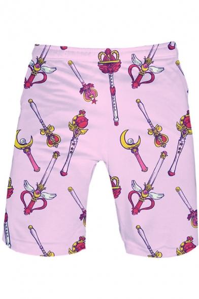 Sailor Moon Comic Magic Wand Printed Pink Sport Loose Summer Athletic Shorts