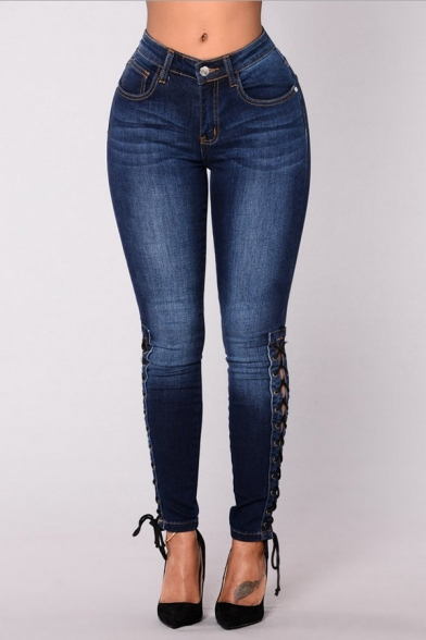 Summer New Fashion Dark Blue Lace-Up Side Womens Skinny Fit Jeans