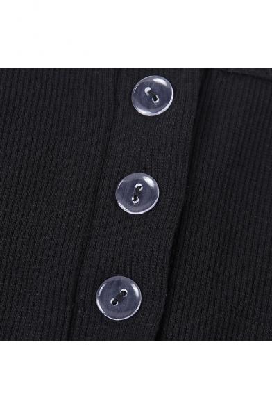 Summer Sexy Hot Style Sleeveless V-Neck Plain Print Button Front Slim Fit Midi Bodycon Cami Dress