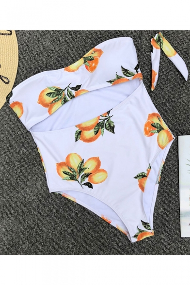 Summer Trendy Lemon Printed Knotted Bandeau Cutout White One Piece Swimsuit Swimwear for Women
