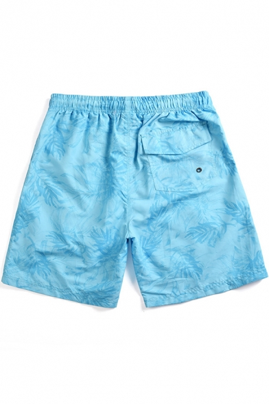 Wave Carp Fish Pattern Blue Quick Drying Mens Lounge Beach Swim Trunks with Lining