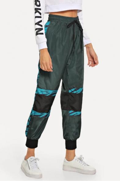 Women's Cool Army Green Drawstring Waist Gathered Cuff Track Pants