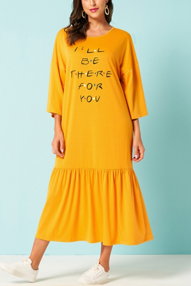 Women's Lovely Ginger I'LL BE THERE FOR YOU Letter Printed Round Neck Long Sleeve Ruffle Detail Maxi Jersey T-Shirt Dress