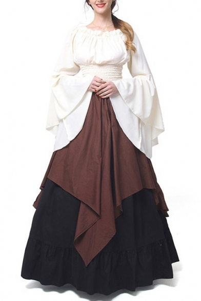 Women' Medieval Retro Renaissance Costumes Irish Trumpet Sleeve Round Neck Peasant Long Gown Dress, LM520924, Brown;green;red