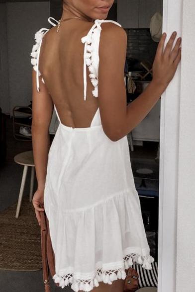 Womens New Fashion Simple Plain Bow-Tied Straps V-Neck Backless Chic Tassel Hem Mini A-Line White Slip Dress
