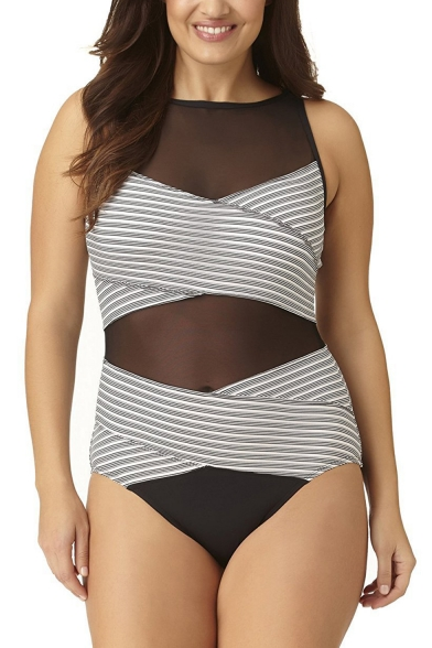 Womens Plus Size Fashion Striped Printed Sheer Mesh Panel One Piece Swimsuit