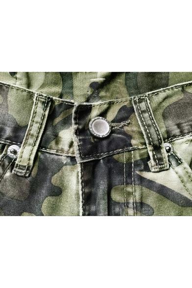 Womens Street Style Fashion Camo Printed Distressed Big Hole Boyfriend Green Jeans