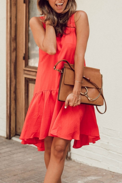 Womens Stylish Solid Color Round Neck Sleeveless Ruffled Swing Tank Dress