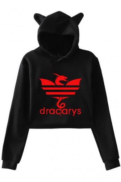 Creative Dragon Dracarys Printed Long Sleeve Cute Cat Ear Cropped Hoodie