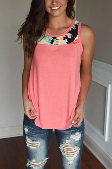 Fashion Floral Patched Basic Sleeveless Round Neck Relaxed Summer Tank Top for Women