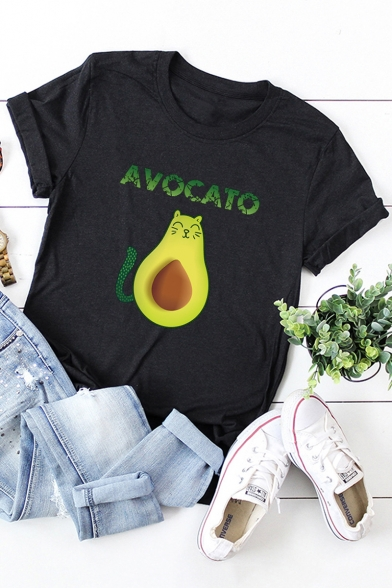 Funny Cute Cartoon Avocado Cat Letter AVOCATO Cotton Loose Graphic Tee