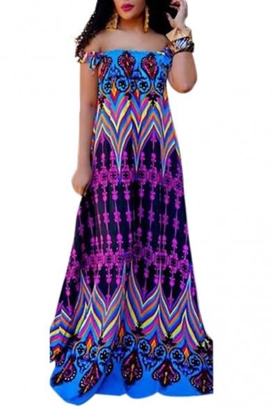 Hot Fashion Geometric Print Off The Shoulder Short Sleeve Maxi Floor Length Dress