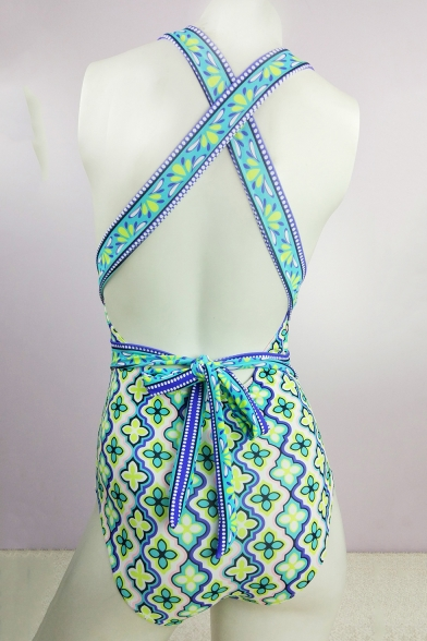 New Fashion Ethnic Floral Printed Halter Neck Plunged One Piece Blue Swimsuit Swimwear for Women