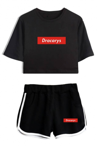 New Popular Letter DRACARYS Short Sleeve Cropped T-Shirt with Casual Shorts Two-Piece Set for Girls