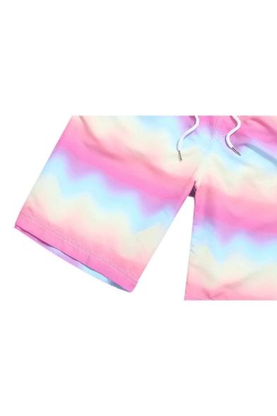 New Trendy Ombre Rainbow Drawstring Waist Pink Casual Swim Trunks for Men