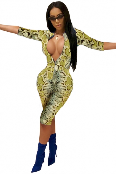New Trendy Snakeskin Printed Sexy Plunged V-Neck Three-Quarter Sleeve Slim Fit Club Jumpsuit Romper