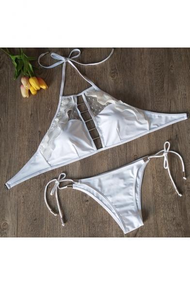 Sexy Ruffle Trim Polka Dot Mesh Insert Hollow Out Halter Neck Metal Patched Bikini