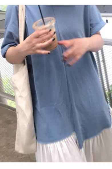 Stylish Color Block Round Neck Short Sleeve Loose Blue and White Maxi T-Shirt Dress For Women