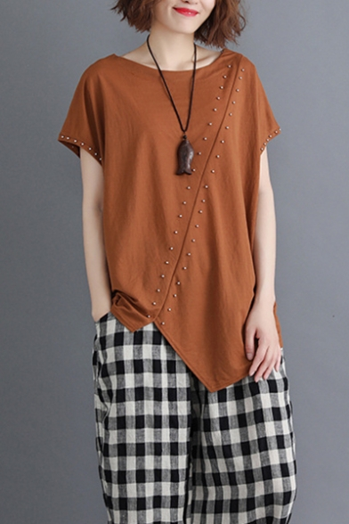 Summer Chic Beading Embellished Solid Color Round Neck Relaxed Asymmetrical T-Shirt