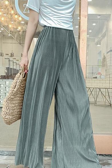 Summer Fashion Candy Color Plain Elastic Waist Floor Length Culottes Pleated Wide-Leg Pants for Women