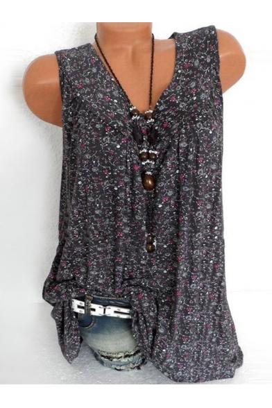 Summer Fashion Floral Printed Sleeveless V-Neck Tank Blouse Top