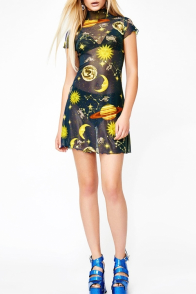 Summer New Fashion Cartoon Angel Moon Sun Printed High Neck Short Sleeve Mini Mesh Dress