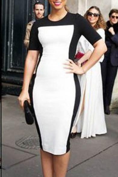 Summer New Trendy Colorblock Round Neck Short Sleeve Midi Pencil Dress
