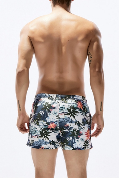 Summer Tropical Coconut Palm Printed Quick Drying Casual Swim Shorts