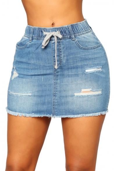 Trendy Drawstring Waist Distressed Ripped Raw Hem Mini Bodycon Blue Denim Skirt