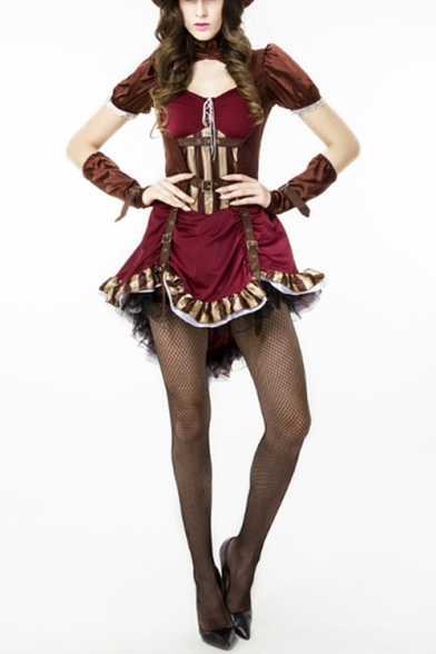 Vintage Steampunk Halloween Cosplay Costume Puff Sleeve Lace Up Red Mini Party Dress