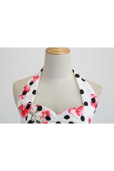 Women's Classic Fashion Polka Dot Floral Printed Halter Sleeveless Midi A-Line Swing White Dress