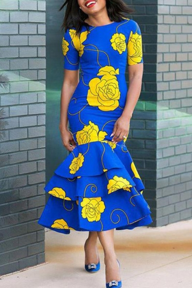Women's New Round Neck Short Sleeves Blue Floral Pattern Layered Ruffle Maxi Bodycon Dress