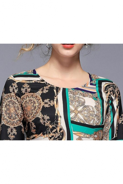Women's New Stylish Green Ethnic Printed Round Neck Long Sleeve Midi Slim Fit Swing Dress