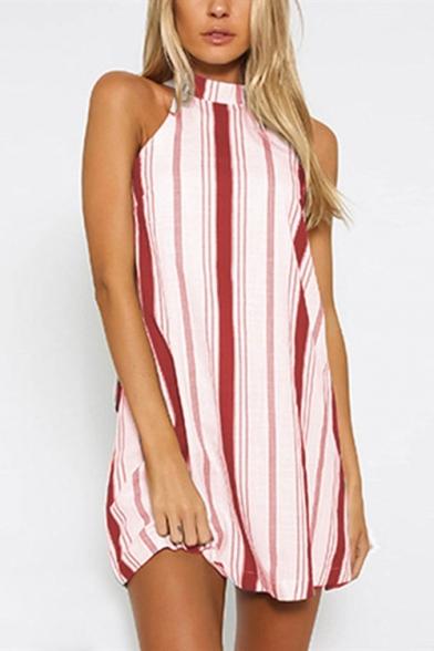 Women's New Trendy Striped Printed Halter Sleeveless Bow-Tide Back Backless Mini Shift Dress