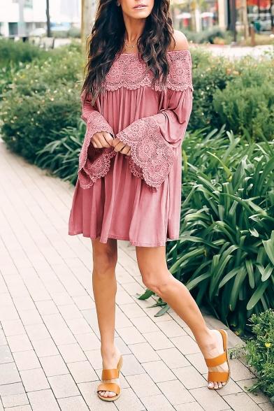Women's Summer Stylish Off the Shoulder Long Sleeve Lace Detail Mini A-Line Swing Dress