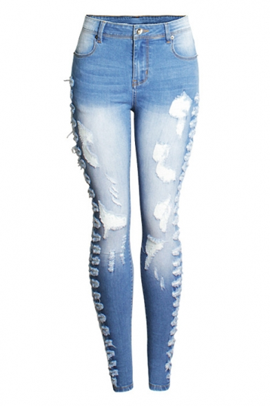 Купить со скидкой Womens New Stylish Destroyed Ripped Faded Blue Stretch Skinny Fit Jeans