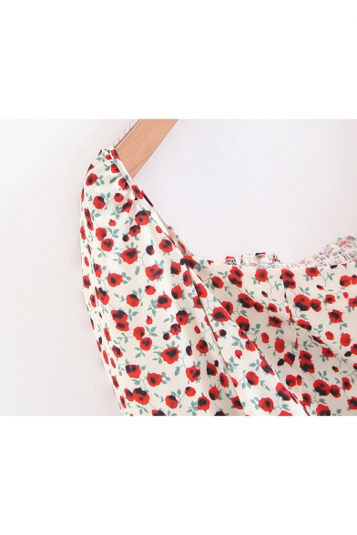 Womens New Trendy Vintage Floral Printed Square Neck Long Sleeve White Cropped Slim Blouse Top