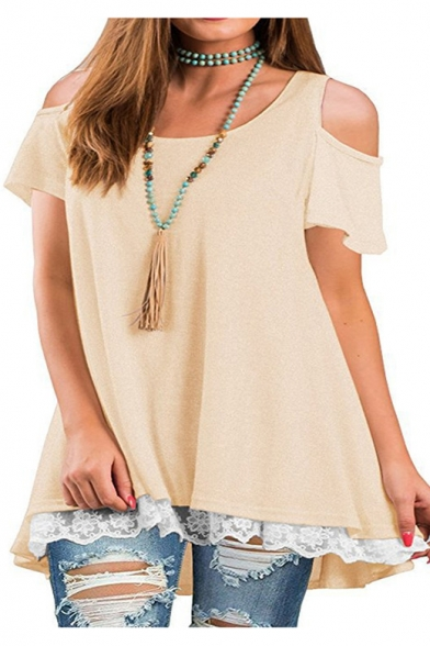 Womens Solid Color Basic Round Neck Cold Shoulder Short Sleeve Lace-Trim Loose Casual T-Shirt LM525321 фото
