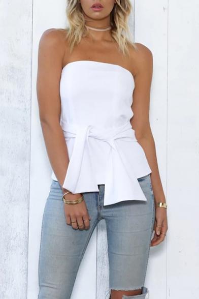 Womens Summer Basic Simple Plain Strapless Tied Waist Zip Back Slim Bandeau Top