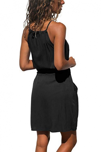Womens Summer New Trendy Simple Plain Drawstring Waist Mini Sheath Cami Dress with Pocket