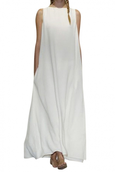 Womens Summer Unique Designer Sleeveless Maxi Loose Casual Dress