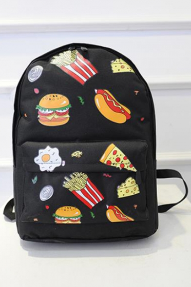 Cartoon Burger French Fries All Over Printed Backpack School Bag