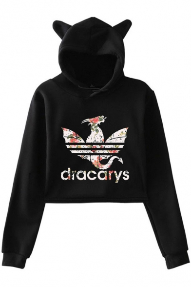 Fancy Dragon Dracarys Long Sleeve Cute Cat Ear Design Pullover Cropped Hoodie