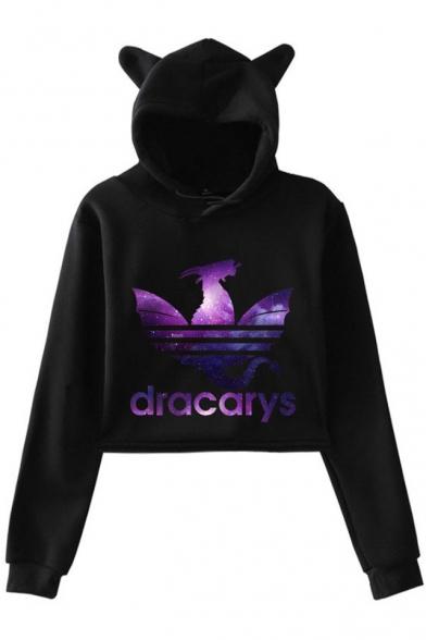 Fancy Purple Galaxy Dragon Dracarys Printed Cute Cat Ear Long Sleeve Crop Hoodie, Black;dark navy;pink;white;gray, LM521754