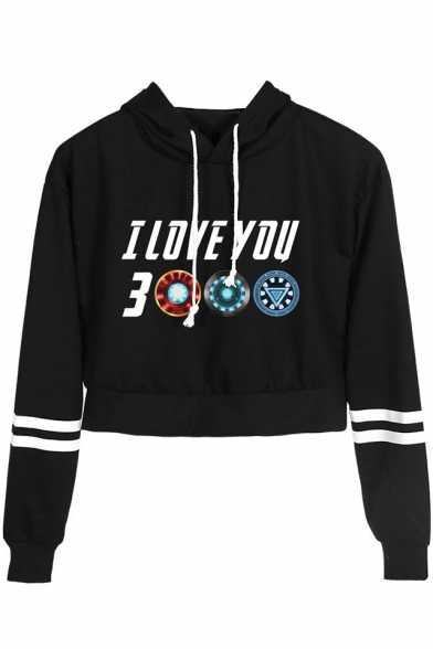 Fashion Unique Letter I Love You 3000 Striped Long Sleeve Cropped Drawstring Hoodie